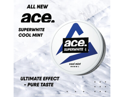 SNUS Nikotiinipadjad  <br> ACE Superwhite <br> Cool Mint 18mg/g
